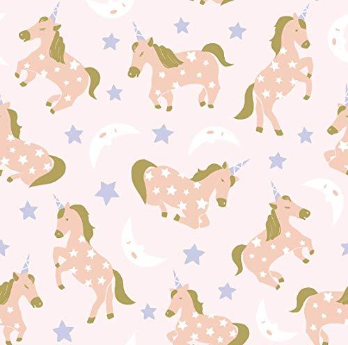 Stitch & Sparkle Pink Unicorns 100% Cotton Flannel Fabric 43