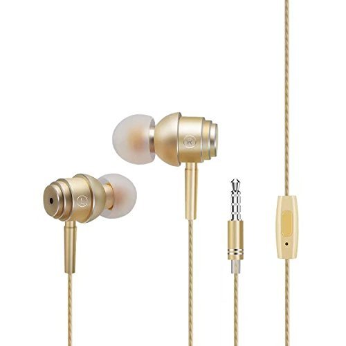 Gooyu Metal Earphones with Microphone In-Ear Earbud Headphones Noise Isolating Earbuds for iPhone iPad iPod Samsung?Android Smartphones Tablets Laptop Mac Computer MP3/4-Golden