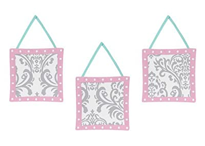 Skylar Turquoise Blue, Pink Polka Dot and Gray Damask Girls Wall Hanging Accessories
