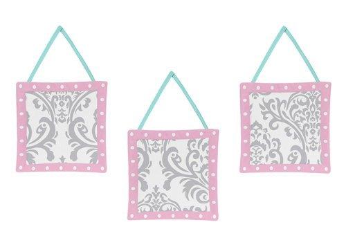 Sweet Jojo Designs Skylar Turquoise Blue, Pink Polka Dot and Gray Damask Girls Wall Hanging Accessories (Hanging Damask Wall)