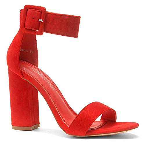 (Herstyle Rumors Women's Fashion Chunky Heel Sandal Open Toe Wedding Pumps with Buckle Ankle Strap Evening Party Shoes Red)