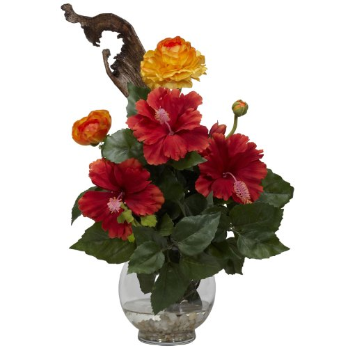 - Nearly Natural 1287 Hibiscus and Ranunculus with Fluted Bowl Silk Flower Arrangement, Red