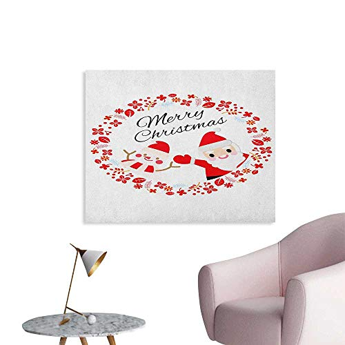 Anzhutwelve Christmas Wallpaper Merry Christmas Lettering Happy Day Santa Claus and Snowman Card Noel Space Poster Red Pink and White W28 xL20 ()
