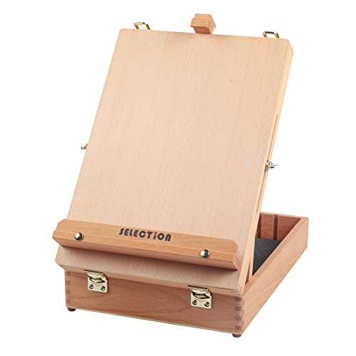 Selection Artist Beech Wood Table Sketch Easel Box Divided with 5 Compartments for Storage by SELECTION