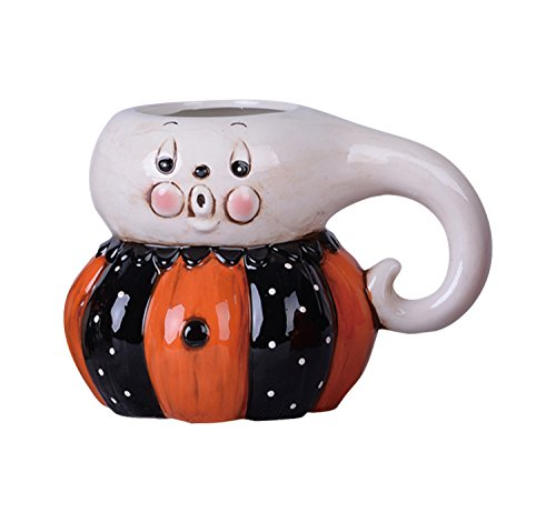 Halloween Ghost Mug - Ghost Head Black and Orange Pumpkin Body 10 Oz. Dolomite Ceramic Halloween Coffee Mug