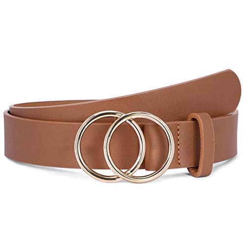 Fashion Belts for Women Brown Leather Belt for Jeans Dress Pants with Gold Double Ring Buckle