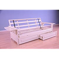Phoenix Futon in Antique White Finish with Storage Drawer