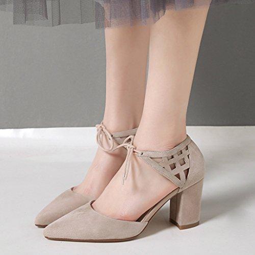 neue Heels Farbe starke Frühling Frauen einzelne Pumps UK4 5 Lace Cross Schwarz gravierte größe Strap Ferse hohle hohlen High Schuhe 2018 5 CN37 Strap Schuhe MUMA EU37 qf8Hztq