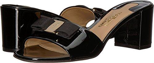 Salvatore Ferragamo Women's Calfskin Mid-Heel Sandal Nero Patent 9 B (Ferragamo Womens Shoes)