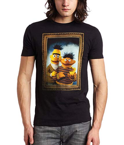 Animation Shops Bert and Ernie Framed T-Shirt-Large Black (Sesame Street Bert And Ernie Fish Call)