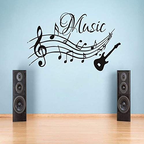 Pbldb 57X35.5Cm Musical Notes Music Guitar DIY Wall Stickers for Kids Room Decoration Guitar Removable Wallpaper Wall Art Decals Home Decor