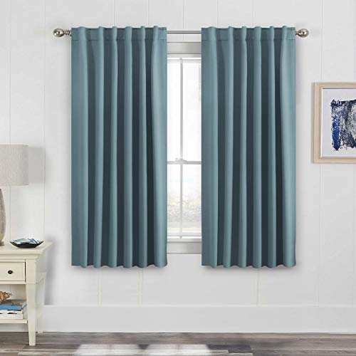 H.VERSAILTEX Permium Full Blackout Curtain Panels Pair, Thermal Insulated Back Tab/Rod Pocket Window Treatment Drapes for Living Room/Bedroom 52 by 63 Inch - Stone Blue (63 Inch Thermal Curtain Pair)