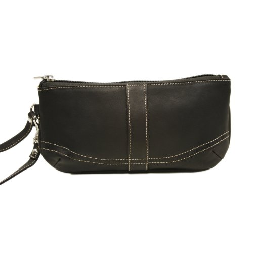 Piel Leather Large Ladies Wristlet, Chocolate, One Size