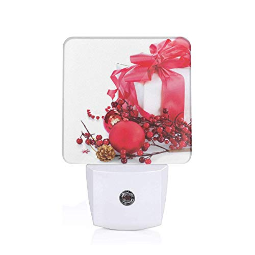 Colorful Plug in Night,New Year Box with Berries Pine Cones Baubles End of The Year Theme,Auto Sensor LED Dusk to Dawn Night Light Plug in Indoor for Childs Adults