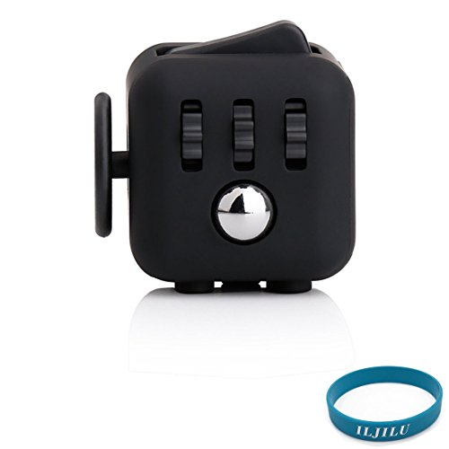 Price comparison product image NEW Fidget Toys Cube for Fidgeters! Relieve Stress, Anxiety, and Boredom all at your finger tips with ILJILU Wristband (ALL BLACK)