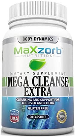 Mega Cleanse EXTRA for CLEANSE and REGULARITY 180 Capsules with 13 Powerful Ingredients including Aloe Vera, Slippery Elm, Cascara Sagrada and Probiotics for a Gentle and Effective Way to Eliminate Toxins End Constipation Naturally From Maxzorb Nutrition
