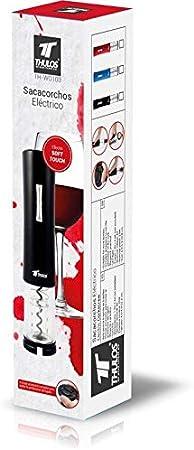 Thulos Sacacorchos eléctrico con luz led y Accesorio para Quitar protección del tapón TH-WO103 (Negro)