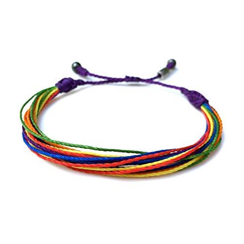 (Custom Sized Rainbow Men's and Women's Multistrand String LGBT Pride Jewelry: Handmade Macrame Friendship Bracelet with Hematite Stones by Rumi Sumaq)