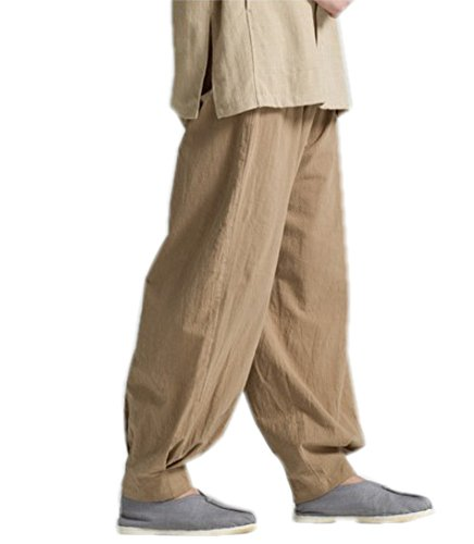 oga Taichi Pants Summer Loose Monk Pants (L, Khaki) ()