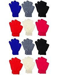 12 Pairs Winter Knitted Magic Stretch Gloves Kids Boys...