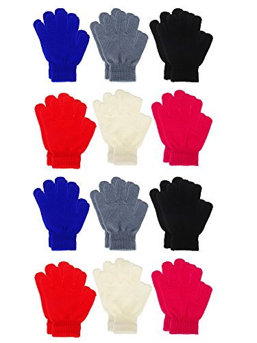 Sumind 12 Pairs Kids Winter Gloves Full Finger Mittens Colored Knit Gloves for Boys Girls, 2 Styles (6 Colors, Kids Size 5 to 12 Years)