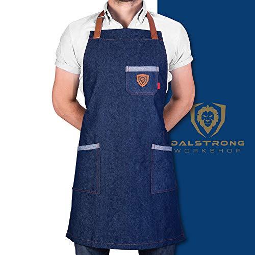 Dalstrong Professional Chef's Kitchen Apron - American Legend - 100% Cotton Blue Denim - 4 Storage Pockets - Liquid Repellent Coating - Genuine Leather Accents - Adjustable Straps (Best American Accent Course)