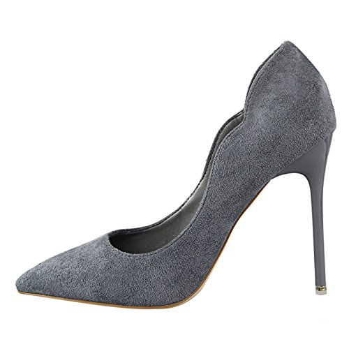 Escarpins Effet Chaussures Mariage Pointu Ol Oaleen Gris Soirée Aiguille Femme Elégant Bout Daim Talon Haut XadSnAnqv