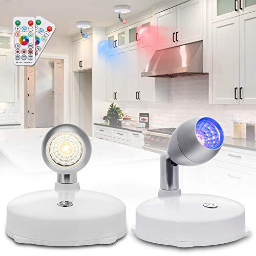 LED Spot Lights voor plafond, Elfeland RGB Draadloze Plafondlamp Batterijen Aangedreven Onder Kast Keuken Lichten…
