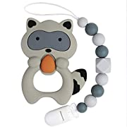 TYRY.HU BPA Free Silicone Teether with Pacifier Clip Holder for Babies Boys Girls Infant Shower Gift (Grey Raccoon)