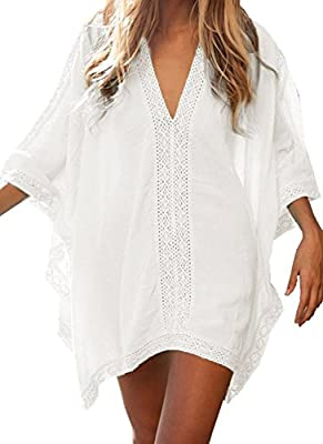 CHERRY CAT Womens Solid Oversized Beach Dress Bathing Suit Swimsuit Cover Ups Kaftan