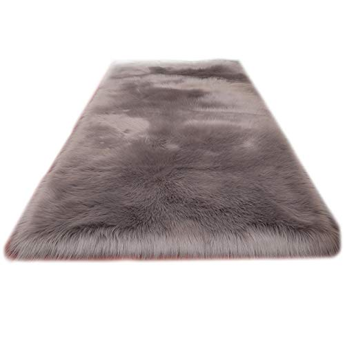 Soft Modern Faux Sheepskin Fur Area Rugs for Bedside Floor Mat Plush Sofa Cover Seat Pad for Bedroom,2ftx4ft,Gery