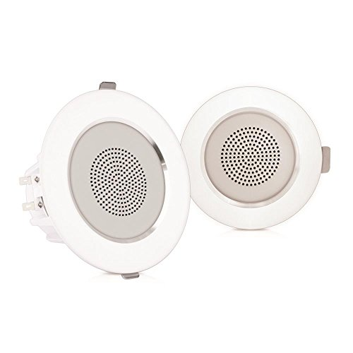 """Pyle Pair 3.5"""" Flush Mount In-wall In-ceiling 2-Way Home Speaker System Aluminum Housing Spring Loaded Clips Dual Polypropylene Cone Polymer Tweeter Stereo Sound 140 Watts (PDIC35) by Pyle"""