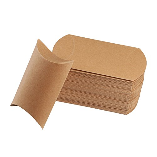 vLoveLife 5'' X 3.5'' Cute Pillow Kraft Paper Gift Boxes Wedding Party Favor Favour Gift Candy Box 13cm x 9cm - Pack Of 50 ()