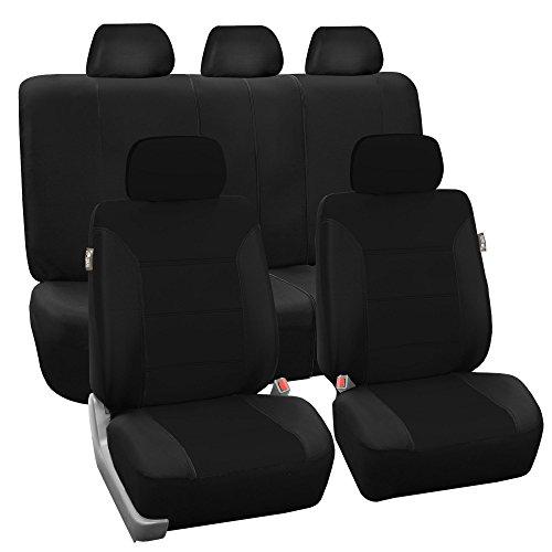 - FH GROUP FH-FB065115 Full Set Classic Khaki Car Seat Covers Full Set Airbag & Split Ready Black- Fit Most Car, Truck, Suv, or Van