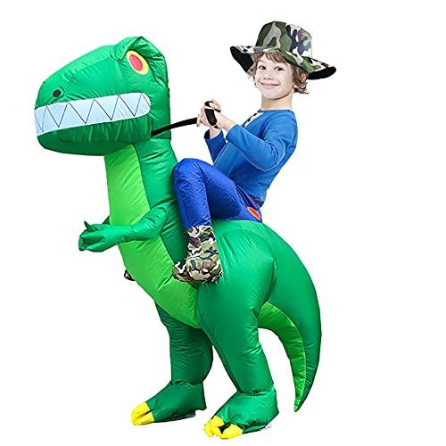 Inflatable Dinosaur Costume Kids, Arspic Halloween Costumes Dinosaur Inflatable Ride on Dinosaur Costume T-REX Blow Up Costume for Boys Girls Riding Dinosaur Funny Costume Child Unisex