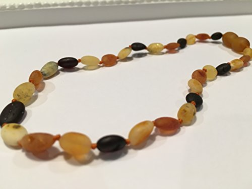 11 inch Raw Multi Rainbow Cherry Lemon Honey Bean Olive Baltic Amber Teething Necklace for Infant Baby Drooling Teething Pain Growing pains Certified Baroque Round Twist-in Screw Clasp by Baltic Essentials