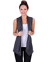 Women's Assymetrical Hem Sleeveless Open Cardigan(Size: Small-5X)