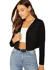 Romwe Women's Elegant Shawl Collar Crop Open Front Jacket Long Sleeve Work Office Blazer