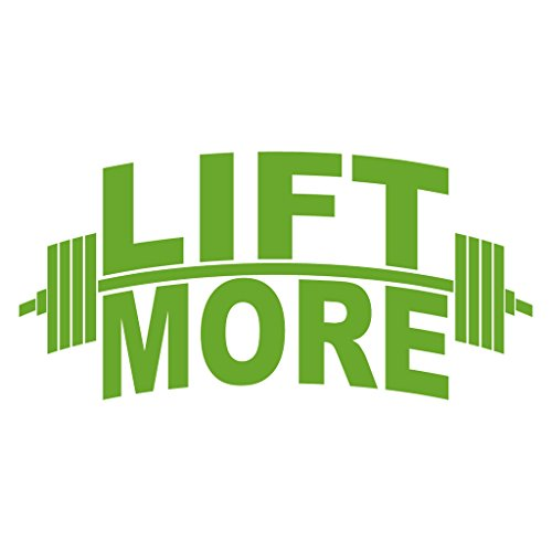 LIFT MORE Barbell Weight Lifting Muscle Making - Vinyl Decal for Outdoor Use on Cars, ATV, Boats, Windows and More - Lime Green 6 inch