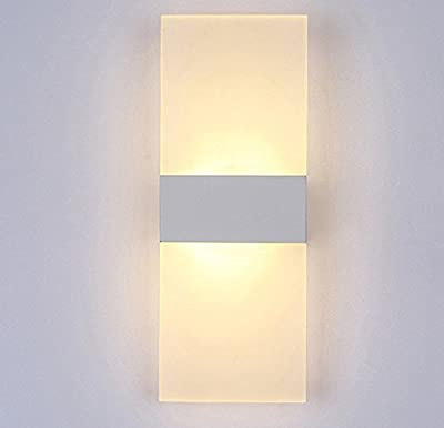Alotm Mini Modern Acrylic LED Wall Sconces Aluminum Lights Fixture Decorative Lamps Night Light for Pathway, Staircase, Bedroom, Balcony, Drive Way, Living Room Warm White