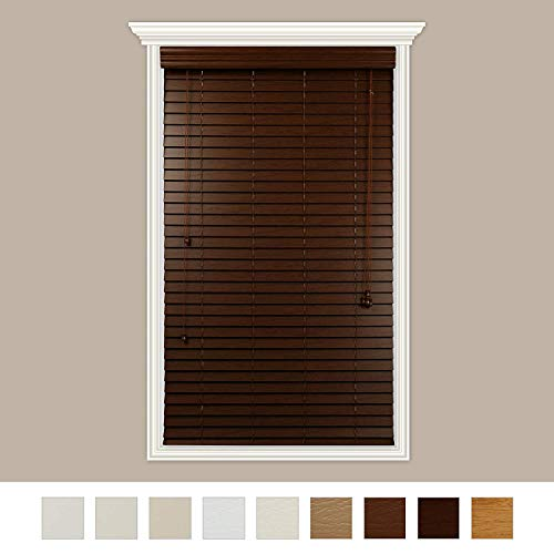 Luxr Blinds Custom Made Premium Faux Wood Horizontal Blinds W/Easy Inside Mount & Outside Mount Wood Blind – Size: 37X80 Inch & Wooden Color: Chestnut Real Grain