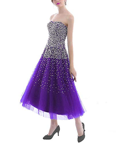 2004 Prom Dress - Richly Shop Women's Luxury Prom Dresses Long with Rhinestones Evening Pageant Gowns,18Plus,ShortPurple
