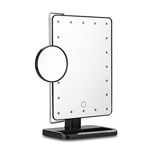 Ovonni L208 LED Touch Screen Kosmetikspiegel mit 10X Lupe 20 LEDs beleuchteter Schminkspiegel Rasierspiegel Dimmbar Batteriebetrieben schwarz