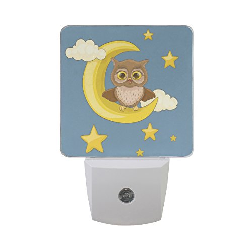 ALAZA Owl Owlet Moon Star LED Night Light Dusk to Dawn Sensor Plug in Night Home Decor Desk Lamp for Adult