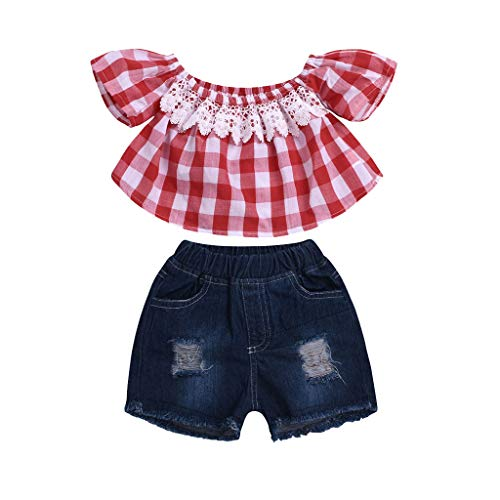 Newborn Girl Pants and Headband Set,Toddler Baby Girls Off Shoulder Plaid Print Lace Tops+Hole Denim Shorts Outfits,Baby Boys' ()