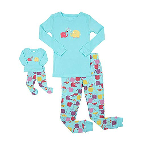 dumanfs Doll & Girls Pajamas Baby Cartoon Long Sleeve Tops Pants Family Sleepwear Matching Sets 2T-12T