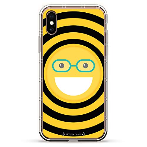 Emoji with Eye Glasses | Luxendary Air Series Clear Silicone Case with 3D Printed Design and Air-Pocket Cushion Bumper for iPhone ()