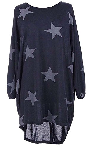 Sleeved Star (IYISS Women's Casual Standard Plus Size High Low 3 4 Sleeved Star Blouses Tops (Dark Blue, L))
