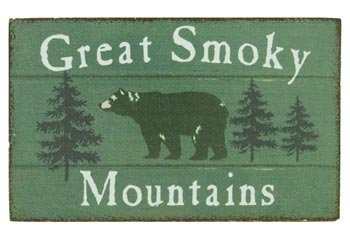 - Magnet Wooden Sign, Great Smokey Mountains, Bear, 4-inch