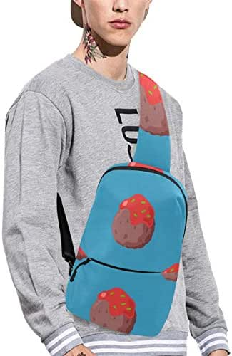 Sling Shoulder Bag Fashion Meatball Food Delicious Creative Design Crossbody Bag Daily Sports Climbing Or Multi-purpose Backpack Men And Women Ladies And Teens